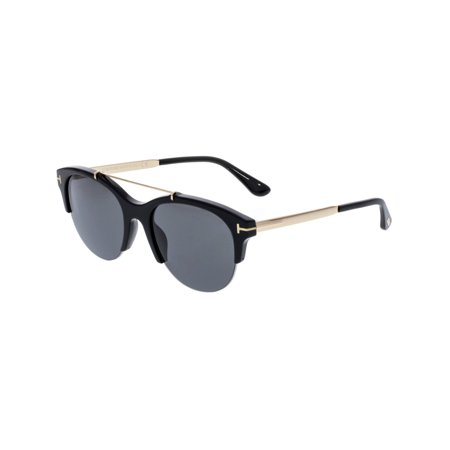 Tom Ford Women's Adrenne FT0517-01A-55 Black Semi-Rimless Sunglasses