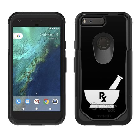 Skin Decal For Otterbox Commuter Google Pixel Case   Silhouette Pharmacist Pharmacy Rx On Black