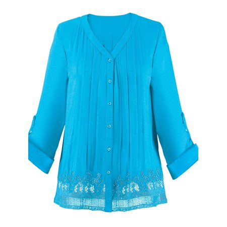 Miss Me Tunic (Women's Pleated Pintuck Lace Trim Tunic, Large, Turquoise)
