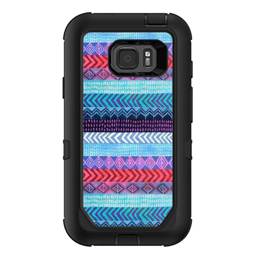 Skins Decals For Otterbox Defender Samsung Galaxy S7 Active Case / Aztec Blue Tribal Chevron