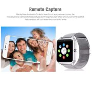 Multifunction Silver Smartwatch and Watch Cell Phone CPU: MTK6261D for iPhone, Android, Samsung, Galaxy Note, Nexus, HTC, Sony