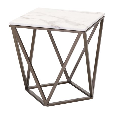 Modern Contemporary Urban Living Lounge Room Sofa End Side Table, White - Faux Marble Painted Metal