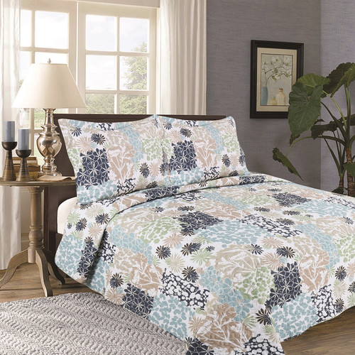 Flora Collection 3-Piece Printed Quilt Set with Shams By Home Fashion Designs