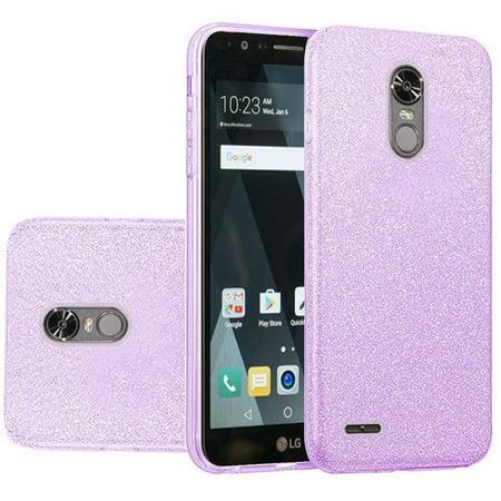 brand new 60ffe 8ab03 Insten For LG Stylo 3/Stylo 3 Plus Purple Hard TPU Hybrid Glitter Case