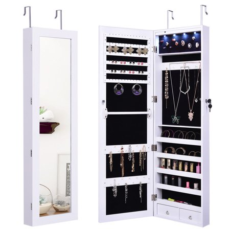 GHP White Glass MDF Soft Velvet Adjustable Door Mounted Jewelry Cabinet w Mirror & LED ()