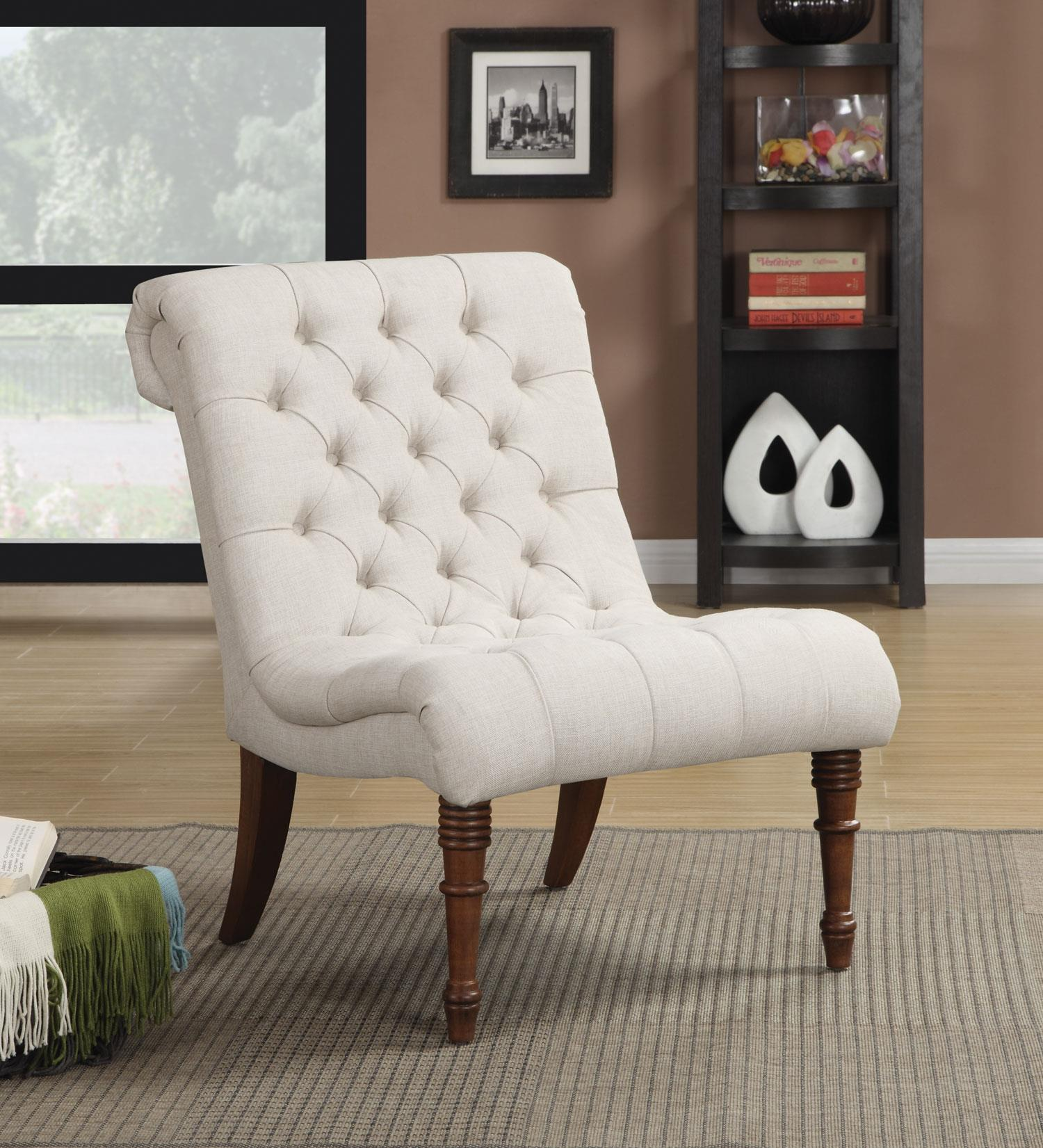 coaster linen sleek accent chair white  walmartcom -