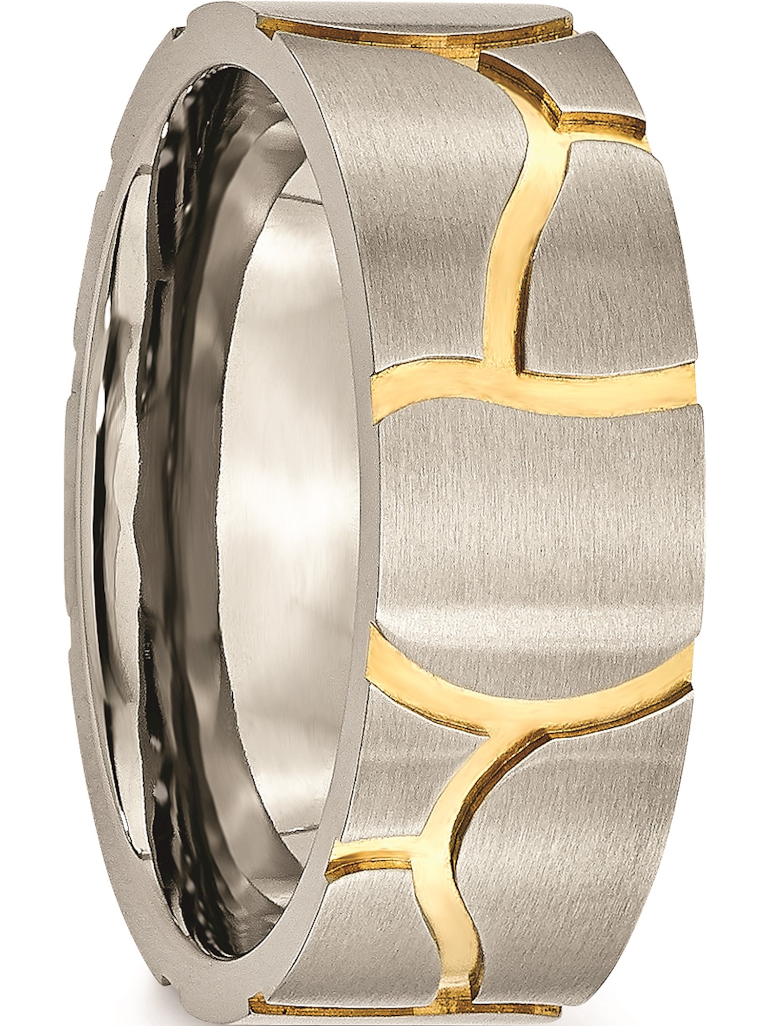Titanium Grooved Yellow Ip-plated Mens 8mm Brushed Band Best Quality Free Gift Box
