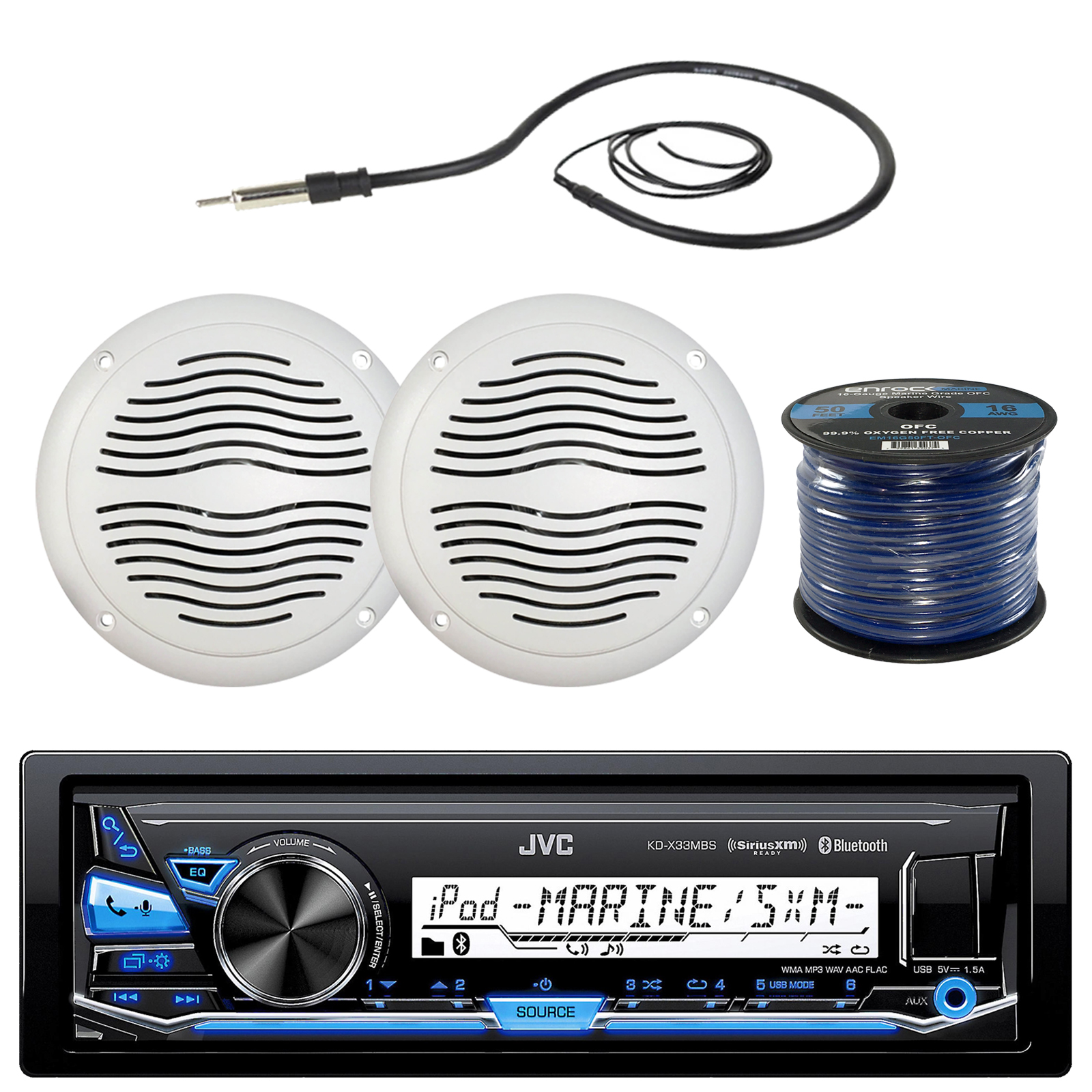 "JVC KD-X33MBS Marine Boat Yacht Radio Stereo MP3 Player Receiver Bundle Combo With 2x Magnadyne WR40W 5"" Inch White Waterproof Outdoor Speakers + Enrock 22"" Radio Antenna + 50 Foot 16g Speaker Wire"