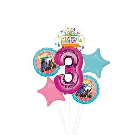 Mayflower Products Wonder Park Party Supplies 3rd Birthday Balloon Bouquet Decorations Pink Number 3
