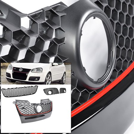 (Front Upper / lower / fog cover For MK5 06-09 GTI Jetta Mesh Grille Black w/ Red)