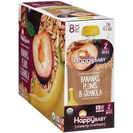 Happy Baby Organics Bananas, Plums & Granola Organic Baby Food 8-4 oz. (Best Plum Organics Happy Baby Happy Baby With Blueberries)