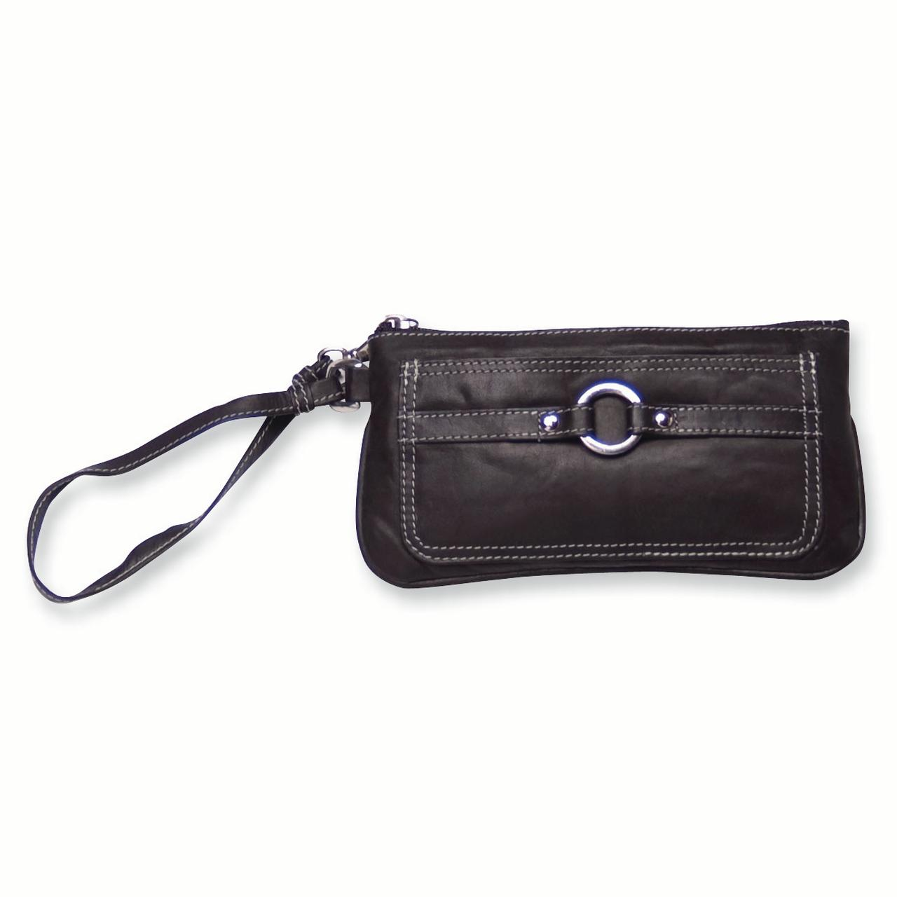 Black Leather Wristlet Woman Hbag Tote Wallet Travel Luggage Case Bag Leatwristlet Gifts For Women For Her