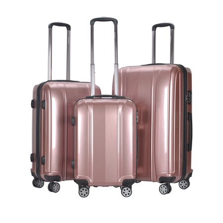Four 24 Inch Trolley - GLOBALWAY 3 Pcs 20'' 24'' 28'' Luggage Travel Set ABS+PC Trolley Suitcase Spinner