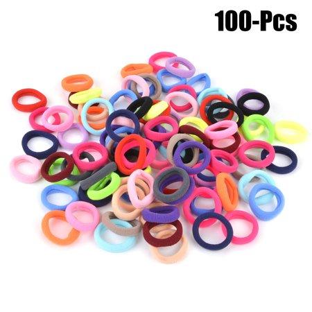 Hair Ties for Girls, Coxeer 100Pcs Cute Multicolor Hair Scrunchies Elastic No Damage Traceless Hair Bands Hair Rope Hair Accessories for Women Ladies Girls Kids - Slinky Hair Ties