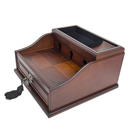 Wood Finish Mahogany Valet Charging Station Organizer For Iphone Samsung And Other Smart Phones