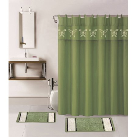 WPM 15 Piece Multi Color Jacquard Bath Rug Set Sage Green Bathroom Mats Shower Curtain Butterfly Collection
