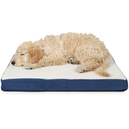 FurHaven Pet Dog Mattress | Deluxe Orthopedic Sherpa Pet Bed Mattress for Dogs & Cats, Navy, Medium
