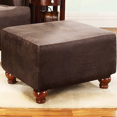 Sure Fit Stretch Leather Ottoman Slipcover, Brown by Sure Fit