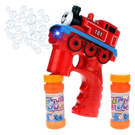 181 Express Train Locomotive Battery Operated Toy Bubble Blowing Gun w/ Light, Sounds, 2 Bottles of Bubble Liquid (Colors May Vary) - Bubble Bottle