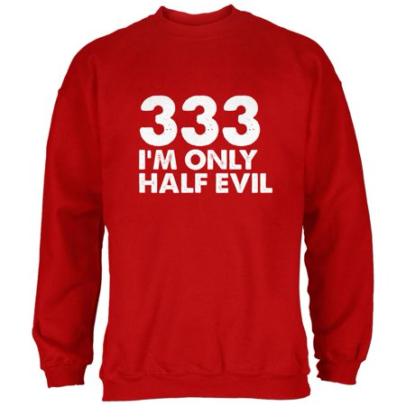 Halloween 333 Half Evil Red Adult Sweatshirt (Half And Half Halloween Makeup)