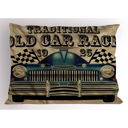 Cars Pillow Sham Traditional Old Car Race Theme Nostalgic American Car with Flags Rusty Look, Decorative Standard Size Printed Pillowcase, 26 X 20 Inches, Sand Brown Black Blue, by Ambesonne (Race Car Theme)