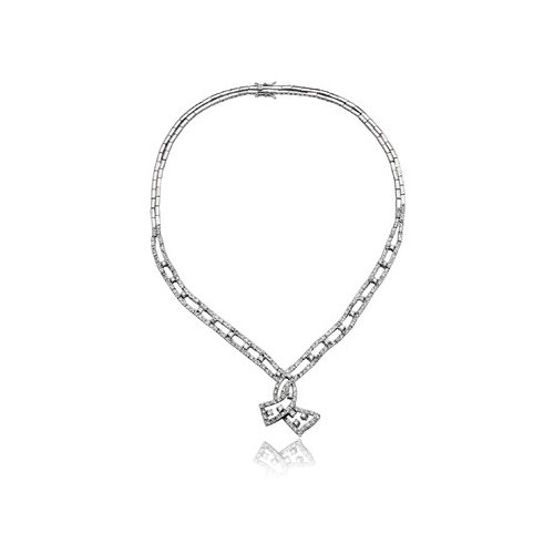 Rozzato Cubic Zirconia Fancy Prom and Bridal Prong-Set and Sterling Silver Detailed Drop Necklace