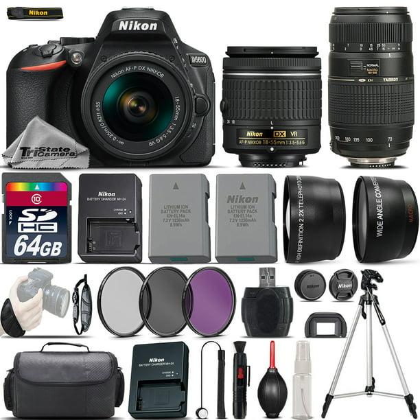 Nikon D5600 Digital SLR Camera + 18-55mm VR + 70-300mm + Extra Battery + 64GB
