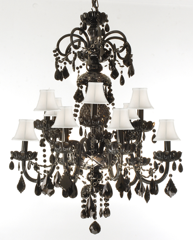 Authentic All Crystal Chandelier Jet Black Crystal With Black Shades