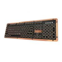 AZIO Retro Classic Bluetooth Wireless Backlit Mechanical Keyboard Artisan MK-RETRO-BT-L-03-US