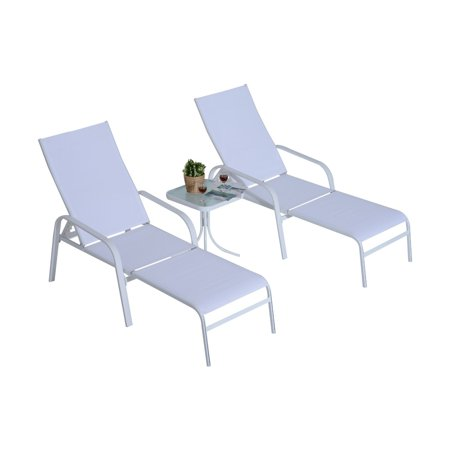 Outsunny Metal and Sling 5 Piece Patio Lounge Chair Conversation Set with Attachable Ottomans ()