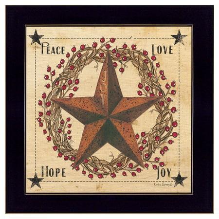 "Trendy Decor 4U ""Peace, Love, Hope, Joy"" by Linda Spivey, Ready to Hang Framed Print, Black Frame"