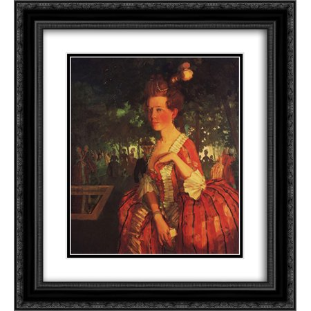 Young Girls Dress (Konstantin Somov 2x Matted 20x22 Black Ornate Framed Art Print 'A Young Girl in a Red Dress (Girl with a)