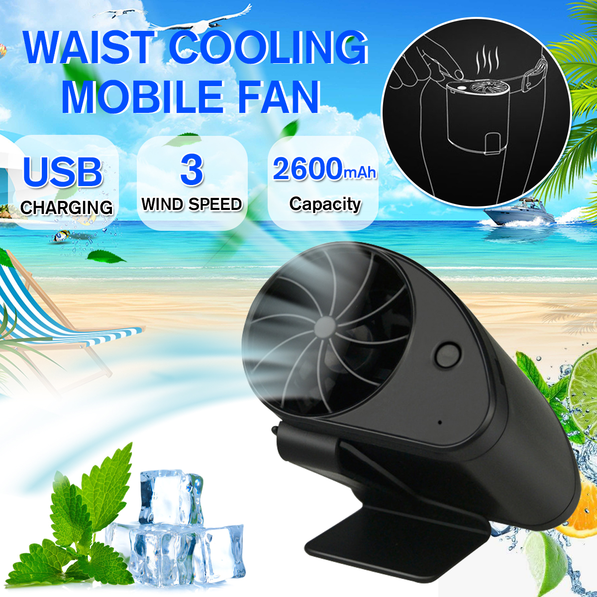Details about  /Hands Free Fan Waist Hanging Fan USB Rechargeable For Camping Travel Practical