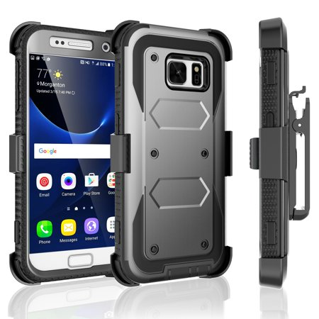 Belt Clip Carrier - Galaxy S7 Case, Tekcoo [TShell Series] Shock Absorbing [Built-in Screen Protector] Holster Locking Belt Clip Defender Heavy Case Cover For Samsung Galaxy S7 S VII G930 GS7 All Carriers
