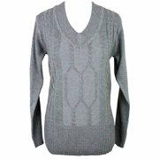 Luxury Divas Heavy V-Neck Long Sleeve Cable Knit Sweater
