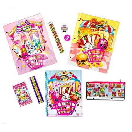 Shopkins School Supplies Bundle - 11 Piece Kit: 2 Laminated Folders, Spiral Notebook, Memo Pad, Eraser, Sharpener, Ruler, Pencil Pouch, 3 Pencils By Moose Enterprise Ship from US (Notebook Bundle Kit)