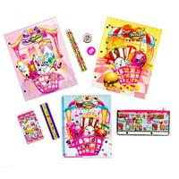 Shopkins School Supplies Bundle - 11 Piece Kit: 2 Laminated Folders, Spiral Notebook, Memo Pad, Eraser, Sharpener, Ruler, Pencil Pouch, 3 Pencils By Moose Enterprise Ship from US