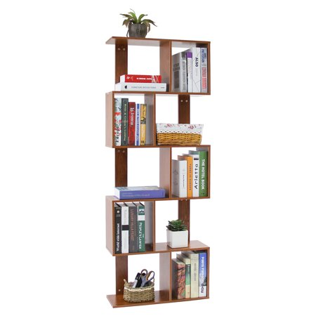 Dark Wood Display Stands - 5 Tier Shelves Display Bookcase Desk Organizer Storage Wood Closet Multi Units Deluxe Free Stand Shelving Shelves Racks Home Office - Rectangle Shaped | Dark Natural Wood Tone