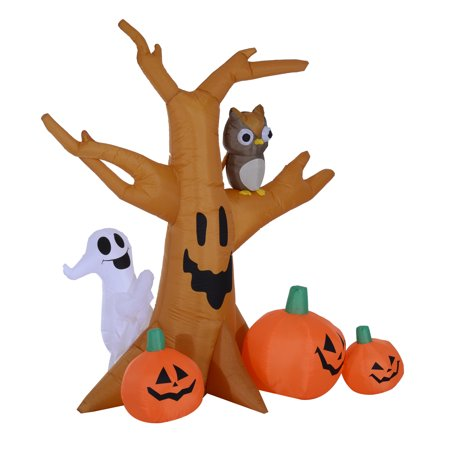 HomCom 7.5' Tall Outdoor Lighted Airblown Inflatable Halloween Decoration - Haunted Tree W/ Own/Ghost/Pumpkins - Haunted History Halloween