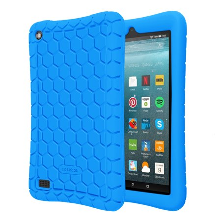 new arrival 6ad07 f6f69 Fintie Silicone Case for All-New Amazon Fire 7 Tablet (7th Gen, 2017  Release) - [Kids Friendly] Anti Slip Cover