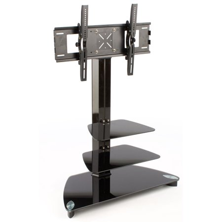Glass Monitor Stand with 2 Shelves for a 37 to 52 inch Flat Screen TV - Black (LCD2T3752)