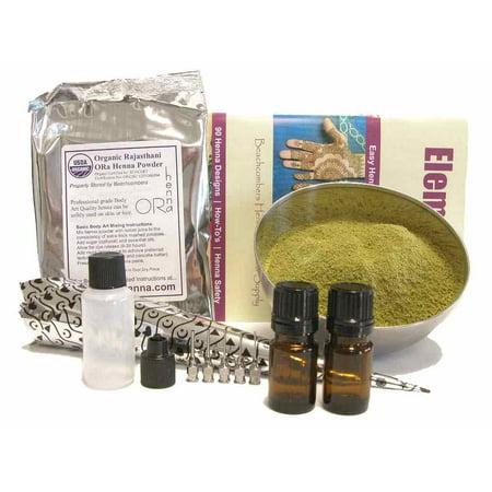 Beginners Henna Starter Essential Kit: BAQ Henna Powder, Essential Oils, Soft Applicator Bottle, Mehndi Design Book