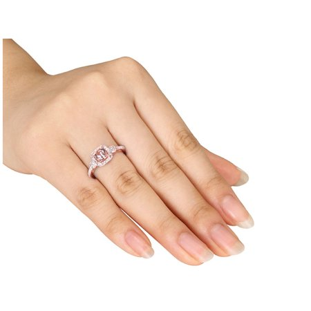 Diamond and Morganite 4/5 Carat (ctw) Ring in 10K Rose Gold - image 1 de 3