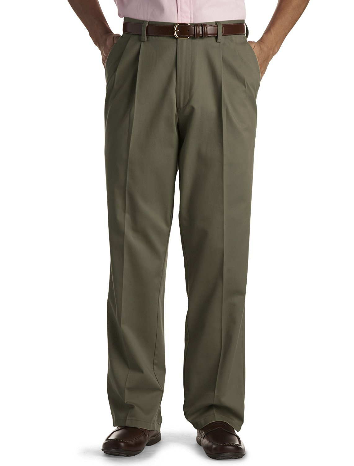 Dockers Mens Big & Tall Pleated Original Khaki Pants, W56 X L32, Olive by Dockers