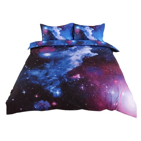 Sky Duvet (3D Galaxy 3Pcs Bedding Set Duvet Cover Quilt Cover Set Pillow Cases,Blue Sky Pattern,Single Size(59 Inch x 83 Inch))