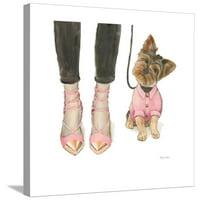 Furry Fashion Friends III Stretched Canvas Print Wall Art By Emily Adams