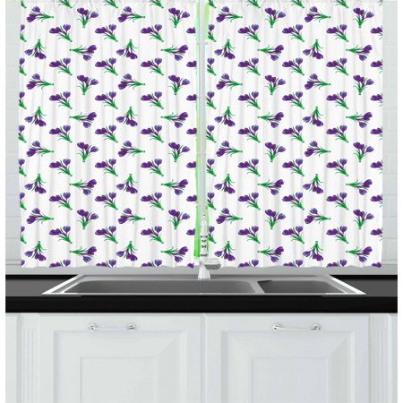 Garden Curtains 2 Panels Set, Springtime Purple Meadow Flowers Idyllic Mother Nature Gardening Theme, Window Drapes for Living Room Bedroom, 55W X 39L Inches, Purple Forest Green, by - Forest Themed Room Ideas