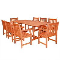 Malibu Outdoor 9-piece Wood Patio Dining Set with Extension Table