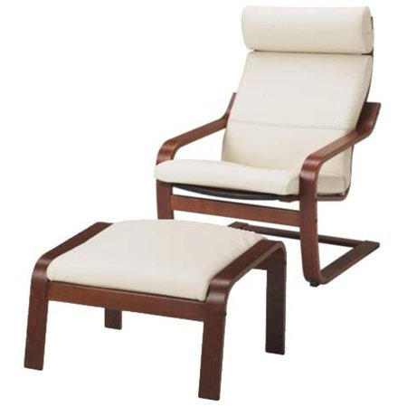 Ikea poang chair armchair and footstool set with off white leather covers - Chairs similar to poang ...