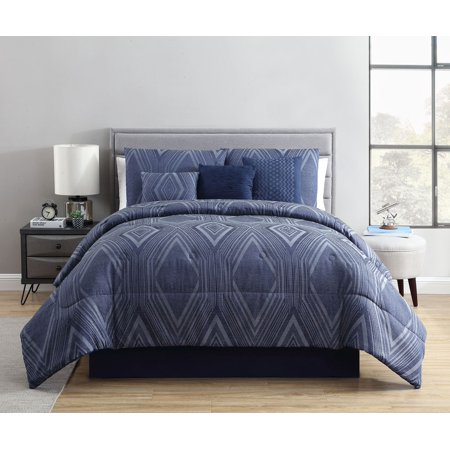 Mainstays King Jason Diamond Woven Jacquard Navy Comforter Set, 7 Piece